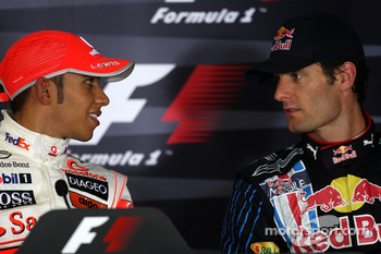 FIA post-qualifying press conference: Lewis Hamilton, McLaren Mercedes, Mark Webber, Red Bull Racing