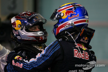 Race winner Sebastian Vettel, Red Bull Racing with second place Mark Webber, Red Bull Racing