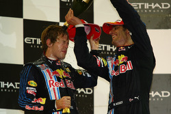 Podium: race winner Sebastian Vettel, Red Bull Racing, with second place Mark Webber, Red Bull Racing