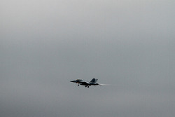 F-16 practices flyover