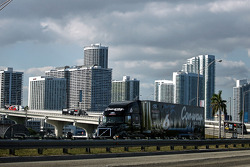 Drivers conduct a haulers parade over the McCarthur Causway from Miami to South Beach during the Fan Event