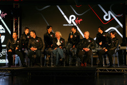 Luiz Razia, test driver with Nick Wirth, Technical Director, Timo Glock, driver, Alex Tai, Virgin Racing CEO and Team Principal, Sir Richard Branson, Chairman of the Virgin Group, Lucas di Grassi, driver, John Booth, Sporting Director, Alvaro Parente test