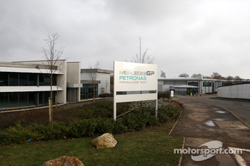 New Mercedes GP signs go up outside the factory in Brackley