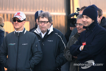 Michael Schumacher, Mercedes GP and Norbert Haug, Mercedes, Motorsport chief have Action look at the Toro Rosso launch