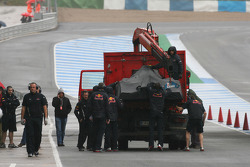 Mark Webber, Red Bull Racing car brought back to the pit lane