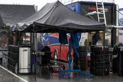 Heavy rain on the garage area