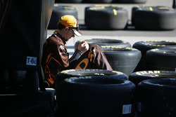A Roush Fenway Racing Ford team member
