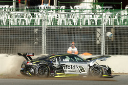 Audi R8 GT3 of Mark Eddy crashes during qualifying