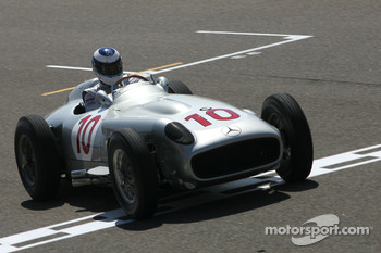 Mika Hakkinen, 1998, 1999 F1 World Champion drives the 1954 Mercedes-Benz W196
