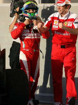 Second place Felipe Massa, Scuderia Ferrari and Stefano Domenicali, Scuderia Ferrari Sporting Director