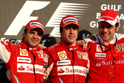 Podium: race winner Fernando Alonso, Scuderia Ferrari, with second place Felipe Massa, Scuderia Ferrari, and Stefano Domenicali, Scuderia Ferrari Sporting Director