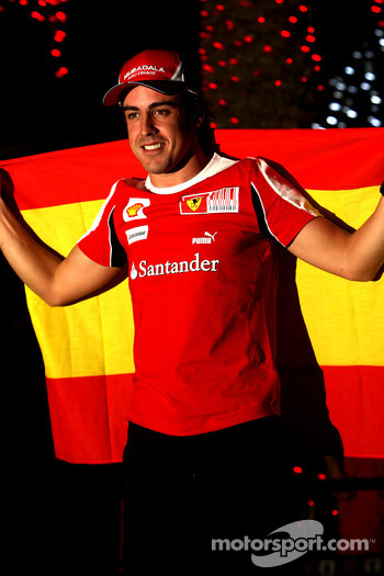 Fernando Alonso, Scuderia Ferrari, celebrates his victory