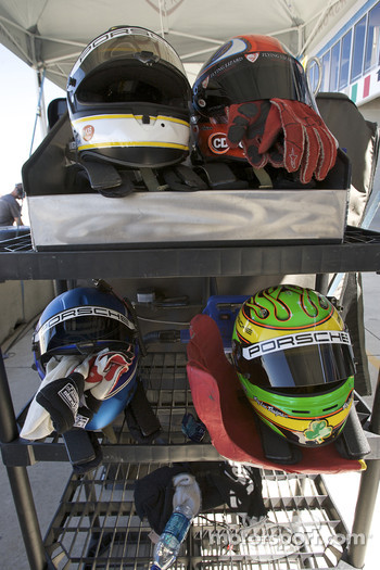 Helmets of Flying Lizard Motorsports drivers