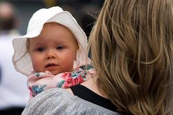 Kaylin, daughter of Matt Kenseth, is held by her mother, Katie
