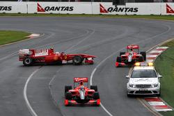 Fernando Alonso, Scuderia Ferrari gets overtaken by the safety car