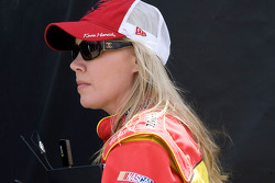 Delana Harvick looks on as the No. 29 Pennzoil team makes adjustments to her husband's, driver Kevin Harvick, car gets worked on