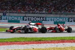 Jenson Button, McLaren Mercedes leads Felipe Massa, Scuderia Ferrari