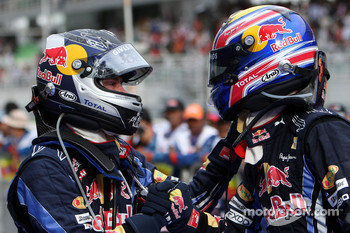 Race winner Sebastian Vettel, Red Bull Racing celebrates with second place Mark Webber, Red Bull Racing