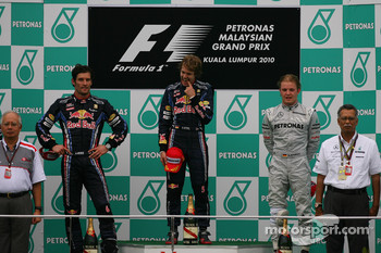Podium: race winner Sebastian Vettel, Red Bull Racing, second place Mark Webber, Red Bull Racing, third place Nico Rosberg, Mercedes GP