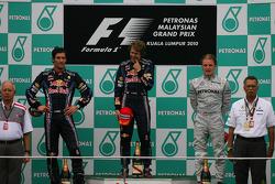 Podium: race winner Sebastian Vettel, Red Bull Racing, second place Mark Webber, Red Bull Racing, third place Nico Rosberg, Mercedes GP
