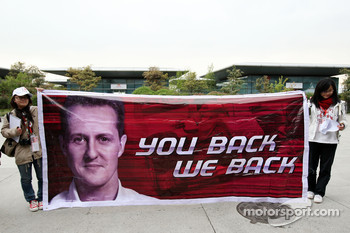 A banner for Michael Schumacher, Mercedes GP