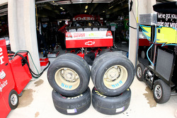 Stewart Haas Racing tires serve as a barrier to the #14 Office Depot garage