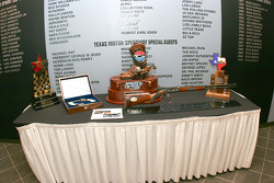 Trophies for the weekend are displayed in the Media Center at Texas Motor Speedway