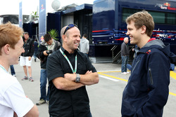 Randy Mamola Motor bike rider with Sebastian Vettel, Red Bull Racing