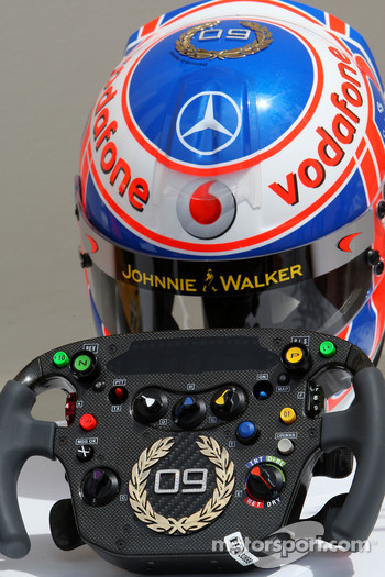 Jenson Button, McLaren Mercedes, Monaco editiion helmets and steering wheels with Steinmetz Diamonds