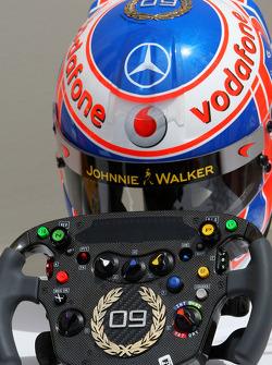 Jenson Button, McLaren Mercedes, Monaco editiion helmets and steering wheels with Steinmetz Diamonds