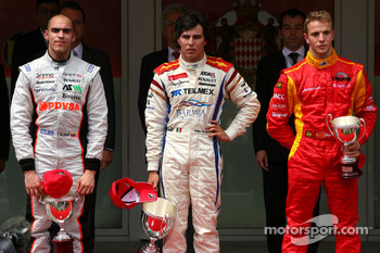 Podium: race winner Sergio Perez, second place Pastor Maldonado, third place Dani Clos