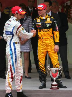 Podium: race winner Jerome d'Ambrosio, second place Giedo van der Garde