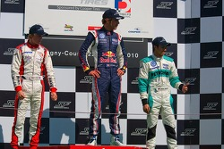 Podium from left: Oli Webb Jean-Eric Vergne and Jazeman Jaafar
