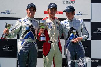 Podium from left Gabriel Dias, Oli Webb and William Buller