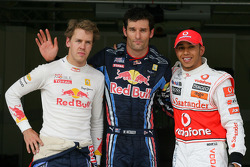 Mark Webber, Red Bull Racing gets pole position, 3rd position for Sebastian Vettel, Red Bull Racing and 2nd for Lewis Hamilton, McLaren Mercedes
