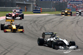 Nico Rosberg, Mercedes GP leads Robert Kubica, Renault F1 Team