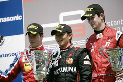 Rio Haryanto celebrates victory on the podium with Alexander Rossi and Miki Monras
