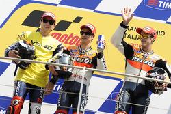 Podium: race winner Dani Pedrosa, Repsol Honda Team, second place Jorge Lorenzo, Fiat Yamaha Team, third place Andrea Dovizioso, Repsol Honda Team