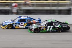 Denny Hamlin, Joe Gibbs Racing Toyota and Kurt Busch, Penske Racing Dodge