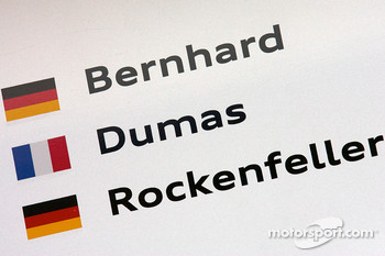 Pit board for #9 Audi Sport North America Audi R15: Mike Rockenfeller, Timo Bernhard, Romain Dumas