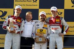 Podium: second place Mattias Ekström, Audi Sport Team Abt Sportsline, Audi A5 DTM; Stefan Reinhold, BMW Team RMG; Race winner Timo Glock, BMW Team RMG, BMW M4 DTM; third place Jamie Green, Audi Sport Team Rosberg, Audi RS 5 DTM