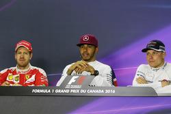 (L to R): Sebastian Vettel, Ferrari; Lewis Hamilton, Mercedes AMG F1; and Valtteri Bottas, Williams in the FIA Press Conference