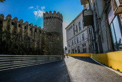 Baku city circuit at turn 10 with the castle