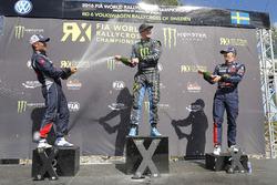 Podium: winner Andreas Bakkerud, Hoonigan Racing Division, second place Sébastien Loeb, Team Peugeot Hansen, third place Timmy Hansen, Team Peugeot Hansen