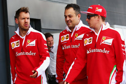 (L to R): Sebastian Vettel, Ferrari with Diego Ioverno, Ferrari Operations Director and Kimi Raikkonen, Ferrari