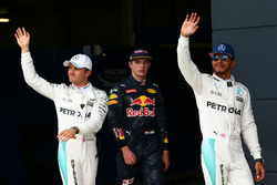 Pole for Lewis Hamilton, Mercedes AMG F1 W07 , 2nd for Nico Rosberg, Mercedes AMG Petronas F1 W07 and 3rd for Max Verstappen, Red Bull Racing RB12