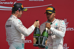 The podium (L to R): Nico Rosberg, Mercedes AMG F1 celebrates his second position with team mate and race winner Lewis Hamilton, Mercedes AMG F1