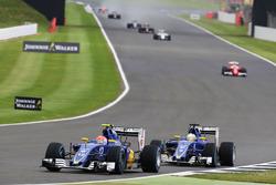Felipe Nasr, Sauber C35 leads team mate Marcus Ericsson Sauber C35