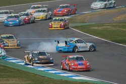 Spin at the start, Porsche Carrera Cup Germany Hockenheimring II 2008