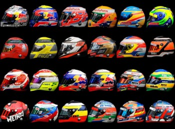 2012 F1 drivers helmets